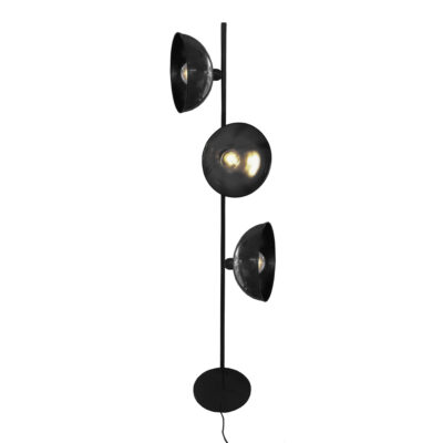 Black 3 Light Retro Floor Lamp