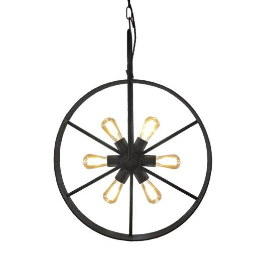 Black 6 Light Bicycle Wheel Pendant