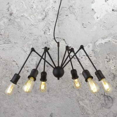 Black 6 Light Multi Arm Pendant