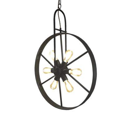 Black 6 Light Wheel Pendant
