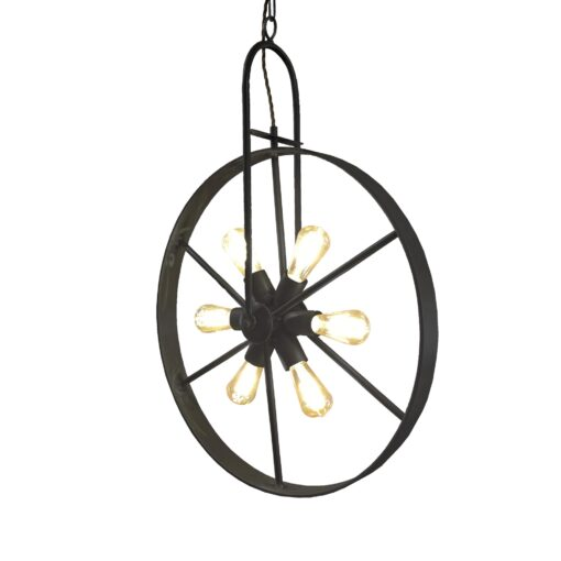 Black 6 Light Wheel Pendant