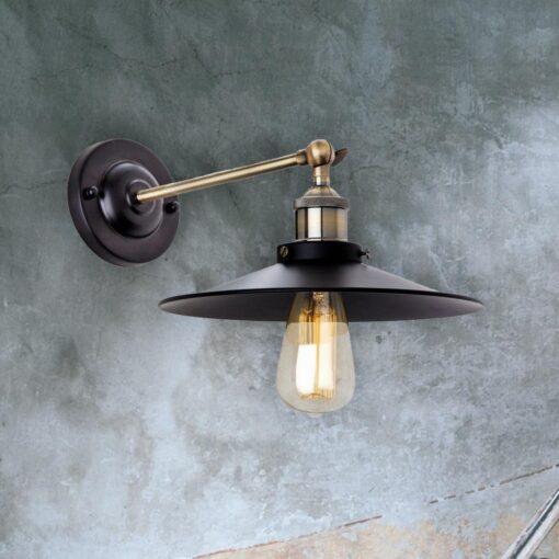Black Antique Brass Wall Light
