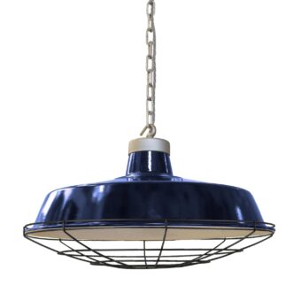Black Cage Blue Enamel Pendant Light