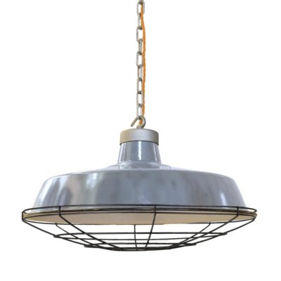 Black Cage Grey Enamel Pendant Light
