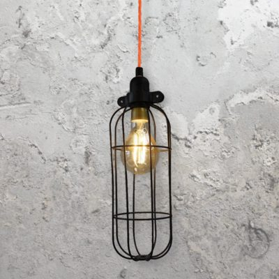 Black Curved Wire Cage Pendant Light