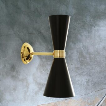 Black Double Cone Wall Light
