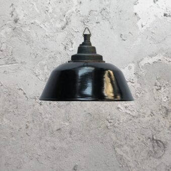 Reclaimed Rustic Black Enamel Pendant Light