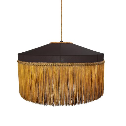Gold Black Fringe Drum Pendant Light 400mm