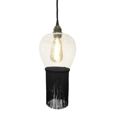 Black Fringe Glass Pendant Light