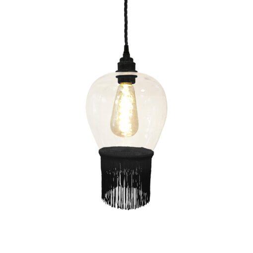 Black Fringe Glass Pendant Light