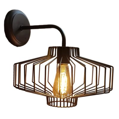 Black Geometric Cage Wall Light