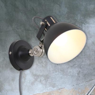 Black Industrial Adjustable Wall Light