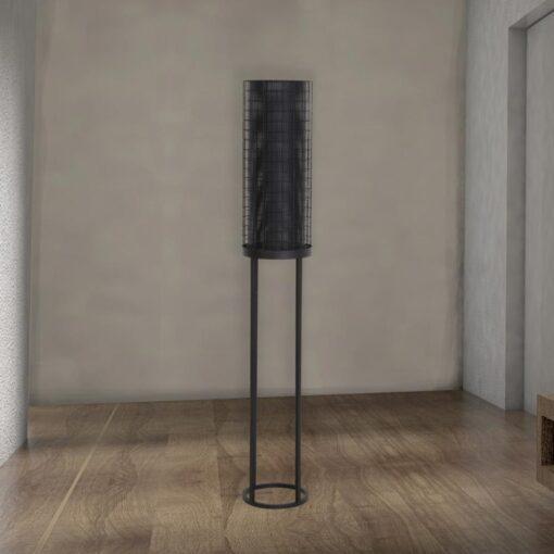 Black Mesh Cylinder Floor Lamp