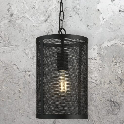 Black Mesh Cylinder Pendant Light