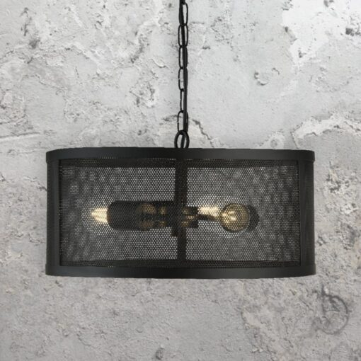 Black Mesh Drum Pendant Light,3 Light Black Mesh Drum Pendant
