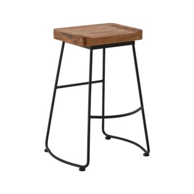 Black Metal Wood Bar Stool