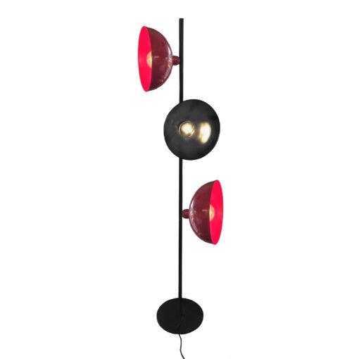 Black Red 3 Light Retro Floor Lamp