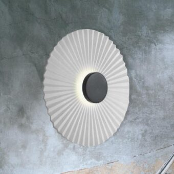 Black Round Rippled Wall Light