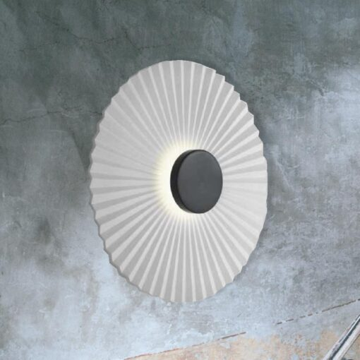 Black Round Rippled Wall Light