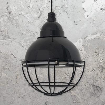 Industrial Black Small Dome Cage Pendant Light