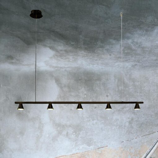 Black Suspended 5 Light Spotlight Bar