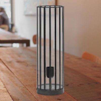 Black Vintage Glass Cylinder Table Lamp