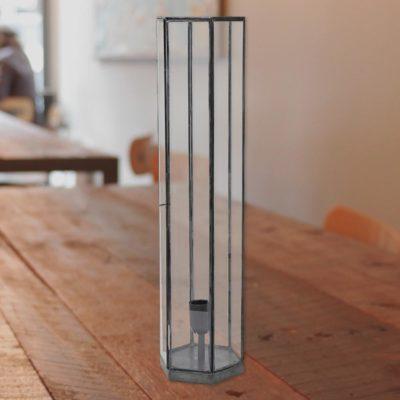 Black Vintage Glass Hexagonal Table Lamp