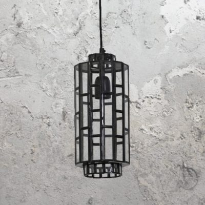 Black Vintage Glass Panels Pendant Light