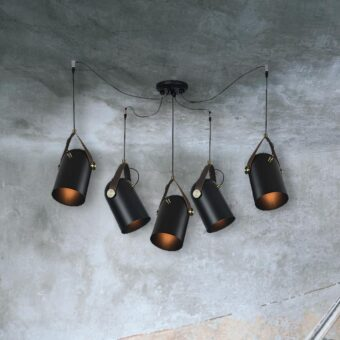 Black Vintage Spider Pendant Lights 5 Light