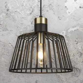 Black and Gold Cage Pendant Light