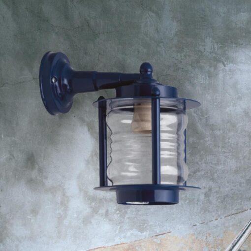 Blue Natural Brass Wall Lantern