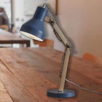 Blue Wooden Desk Lamp