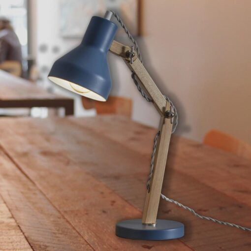 Blue Wooden Desk Lamp