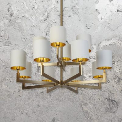 Brass 12 Light Chandelier with Shades