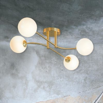 Brass 4 Light Semi Flush with Globes