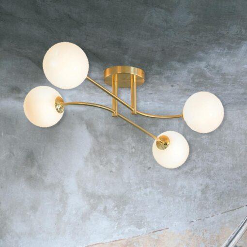 Brass 4 Light Semi Flush with Globes