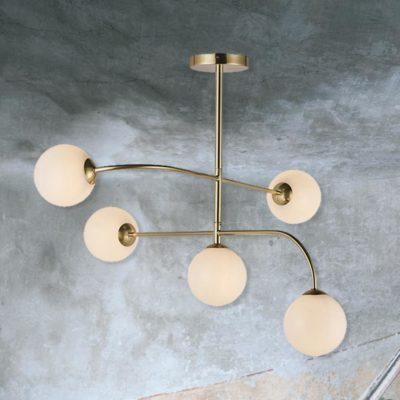 Brass 5 Light Semi Flush with Globes