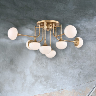 Brass 8 Light Semi Flush with Globes