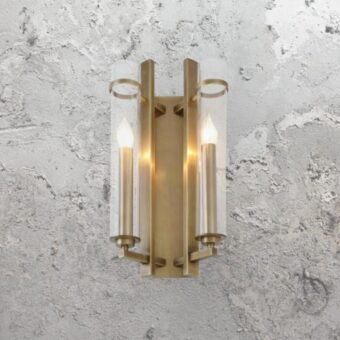 Brass Double Wall Light with Tubular Glass Shades