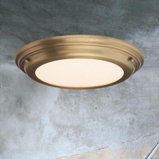 Aged Brass Flush Bathroom Ceiling Light