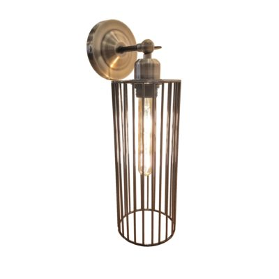 Antique Brass Long Cage Wall Light