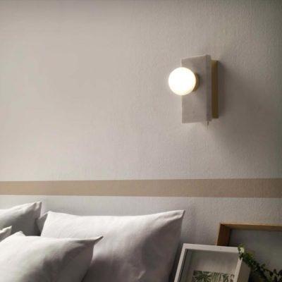 Minimal modern matt brass marble wall light