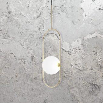 Brass Oval Ring Globe Pendant Light
