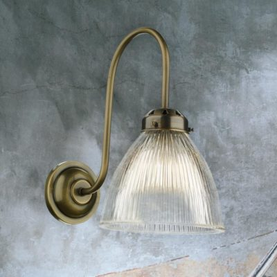 Brass Ribbed Glass Wall Sconce