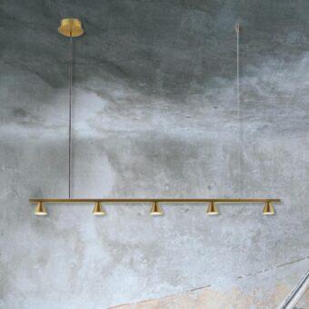 Brass Suspended 5 Light Spotlight Bar