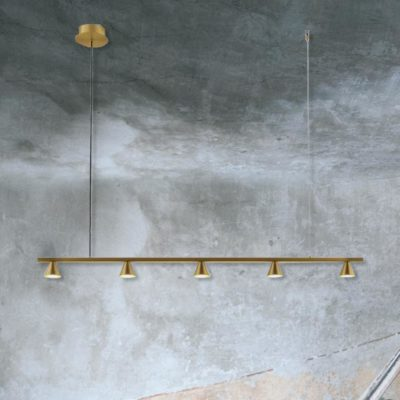Brass Suspended 5 Light Spotlight Bar