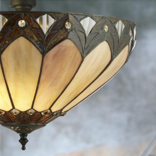 Brass Tiffany Glass Dome Flush