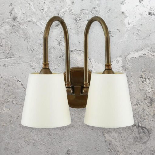 Traditional Double Wall Light CL-33535 CL-33535 is a traditional double wall lightfitting inantiquebrassand white fabric shades