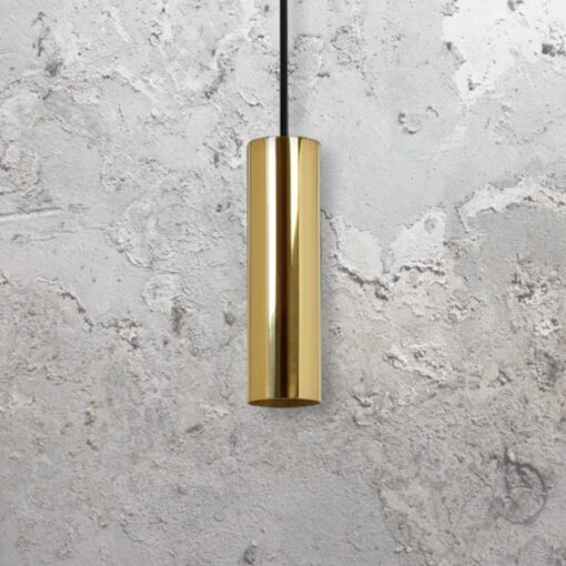 Polished Brass Bespoke Tube Pendant Light