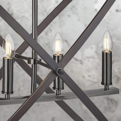 Bronze 4 Light Rustic Pewter Chandelier